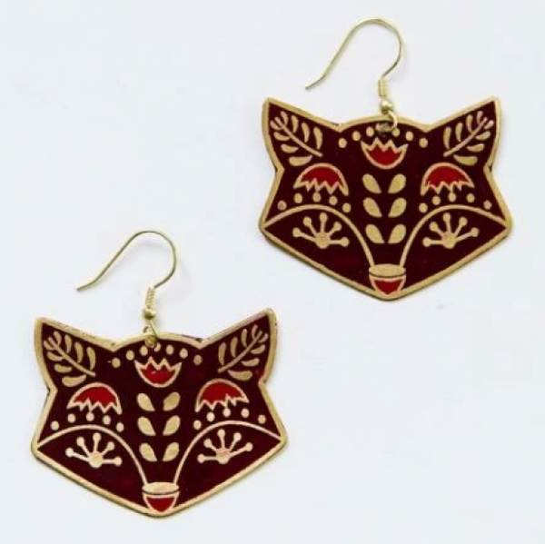 Red Fox Folk Art Earrings