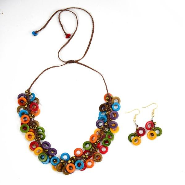 Melody Tagua Nut Necklace and Earrings Set