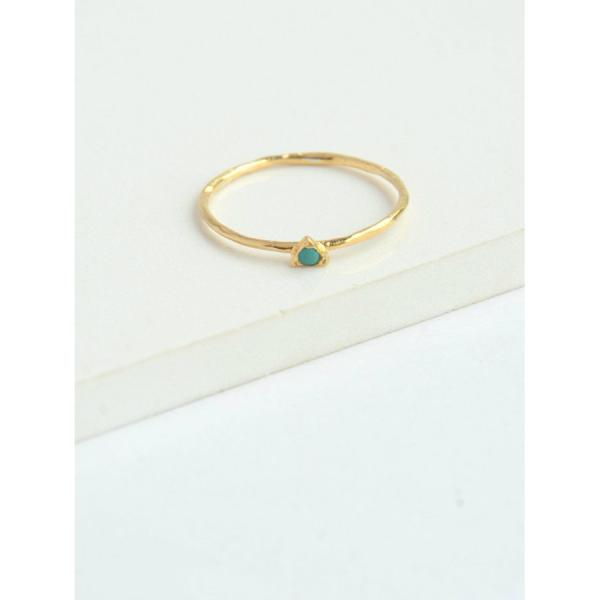 Tiny Triangle Gold Ring with Turquoise