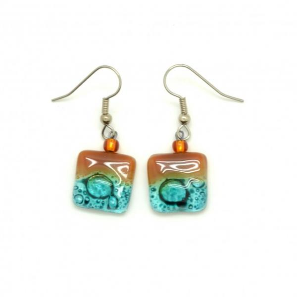 Square Drop Earring Glass Assorted