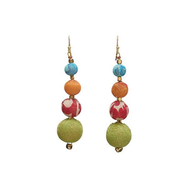 Graduated Kantha Bead Earrings