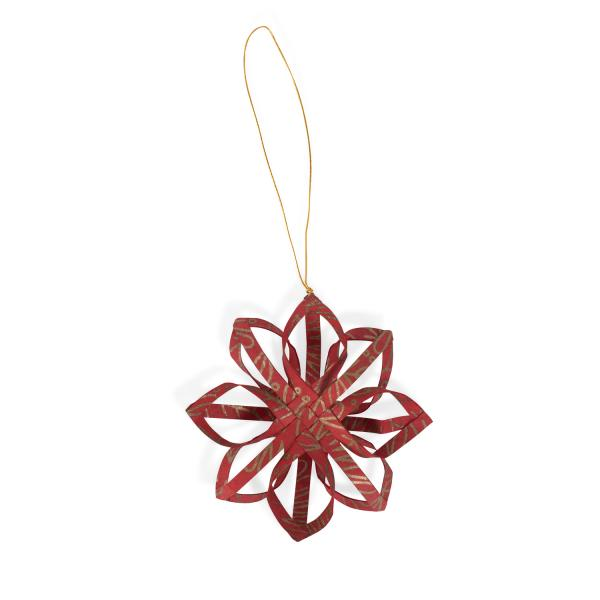 Red Touch of Gold Star Paper Ornament
