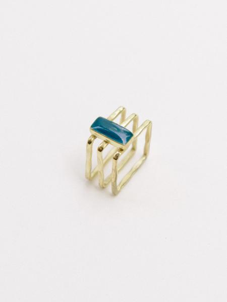 Cubist Gold and Navy Enamel Ring