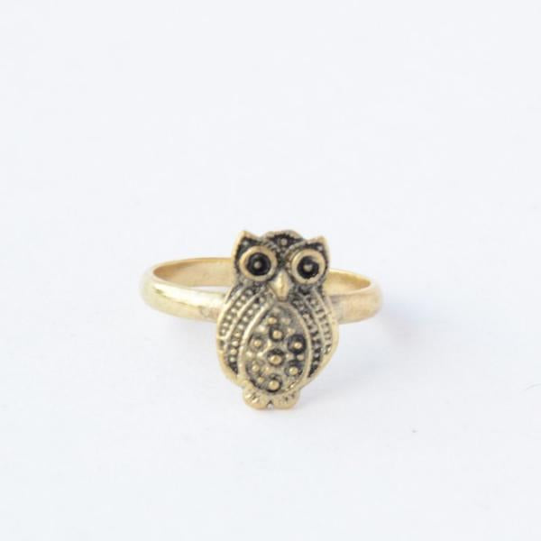 Recycled Brass Owl Ring