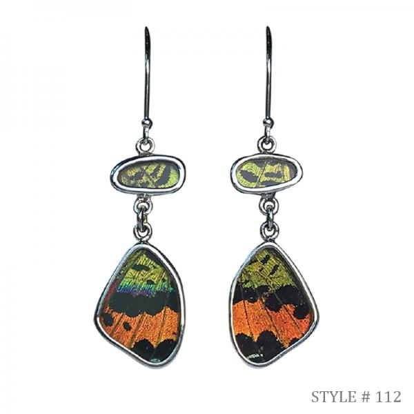 Real Butterfly Wing Flutter Earrings