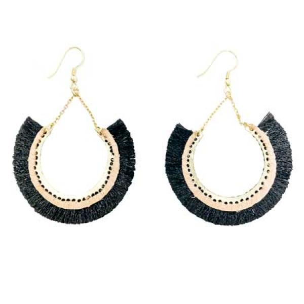 Contoured Fringe Earrings Black