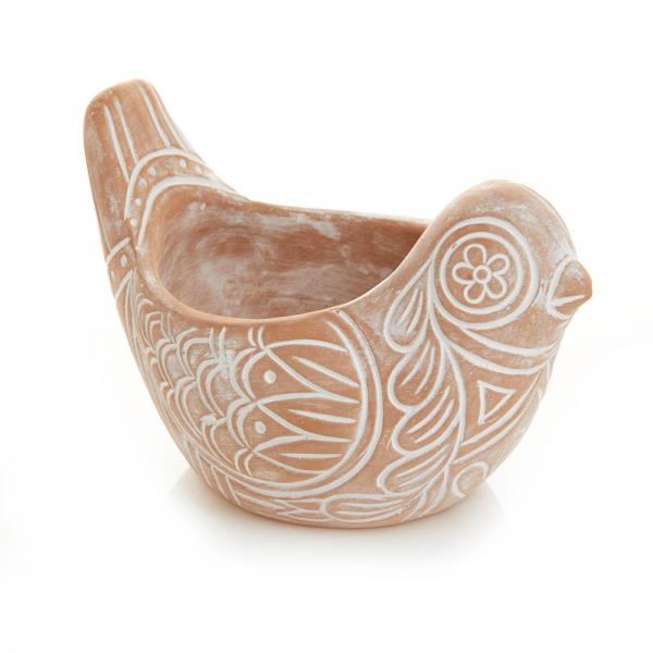 Etched Terra Cotta Bird Planter - Large