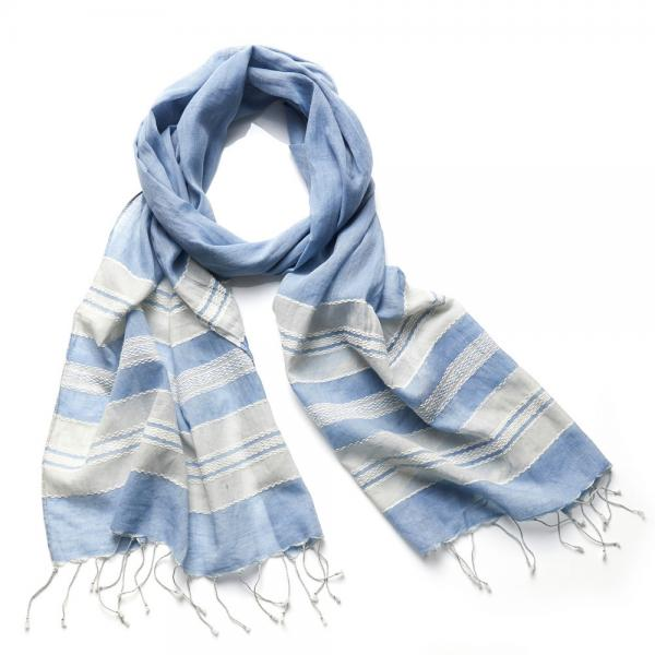 Coastal Stripe Cotton Scarf