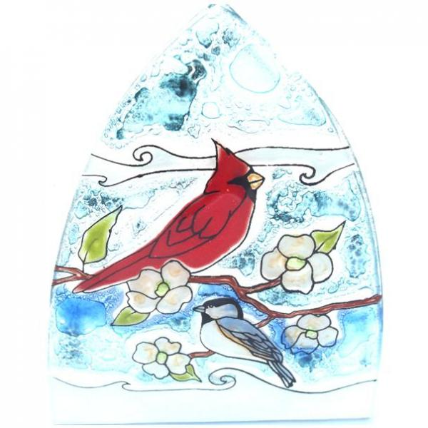 Cardinal and Chickadee Glass Night Light
