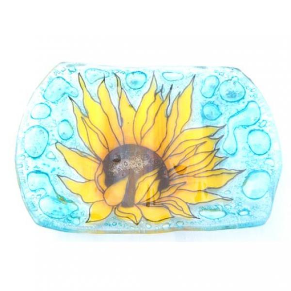 Sunflower Fused Glass Soap Dish