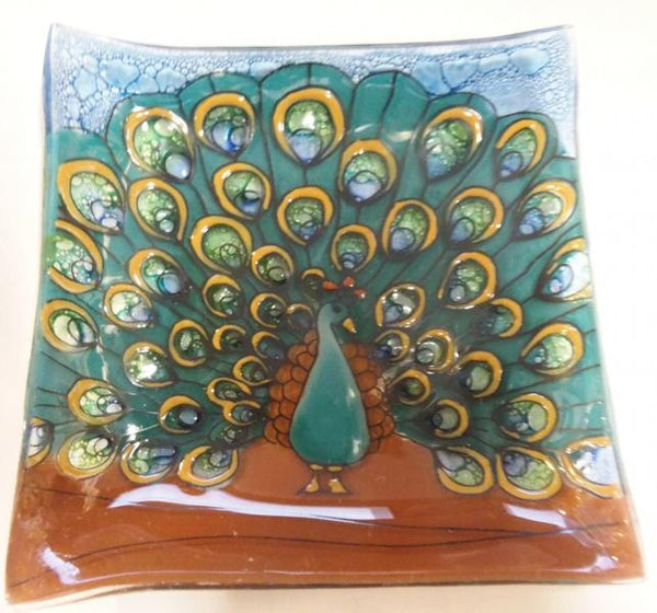 Peacock Fused Glass Square Dish