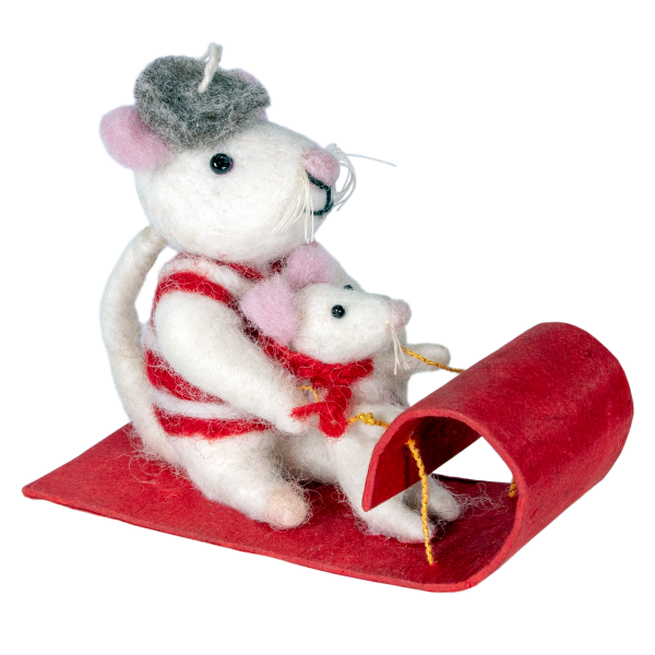 Toboggan Mice Ornament