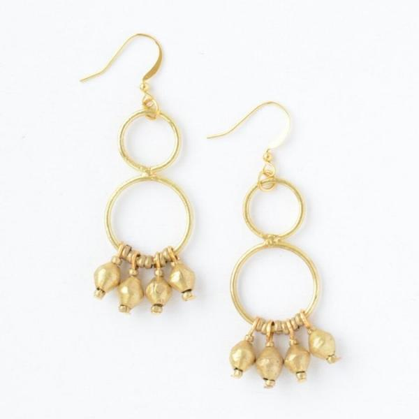 Comet Dangle Earrings: Brass