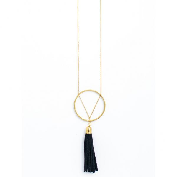 Ellaria Gold and Black Suede Tassel Necklace