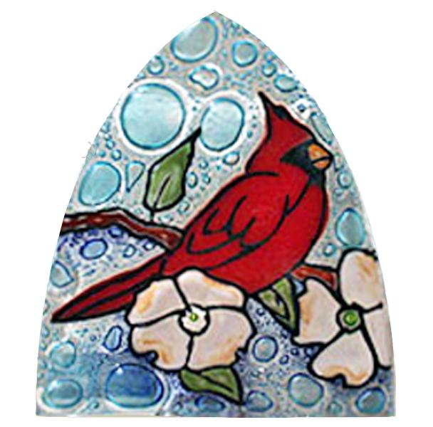 Cardinal in Dogwood Fused Glass Night Light