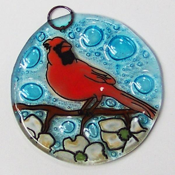 Cardinal in Dogwood Fused Glass Ornament