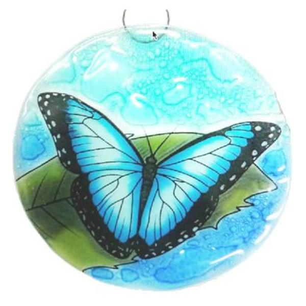 Blue Morpho Butterfly Fused Glass Ornament