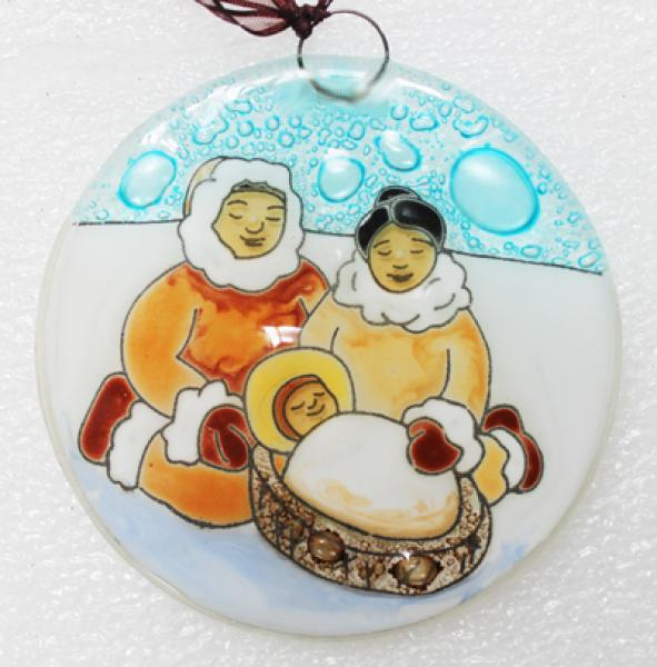 Inuit Family Fused Glass Ornament