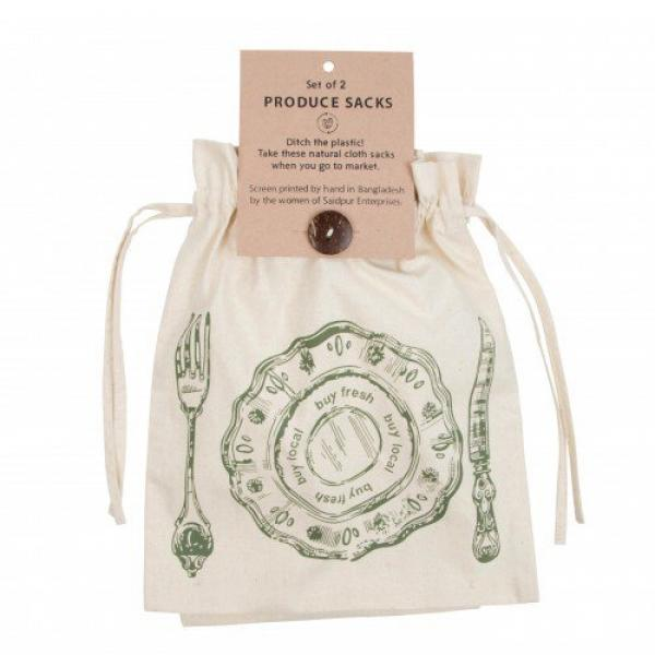 Reusable Cotton Produce Sack - Set of 2