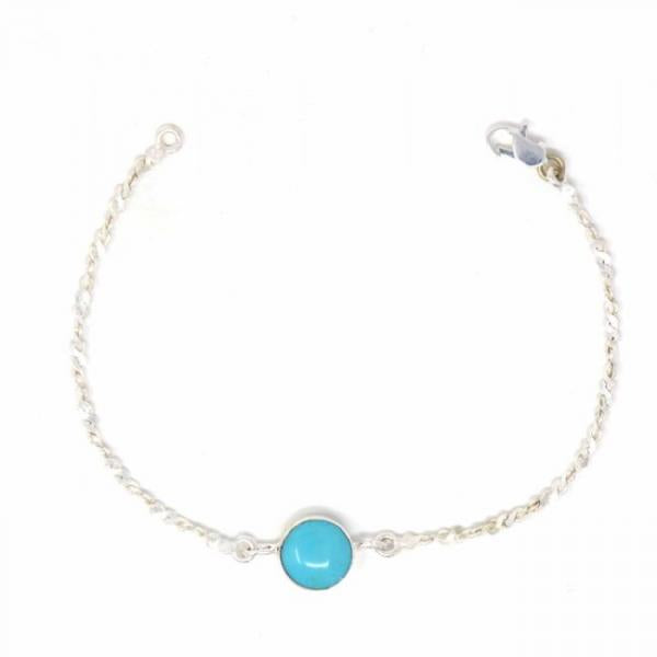 Silver Bracelet with Faux Turquoise Bauble