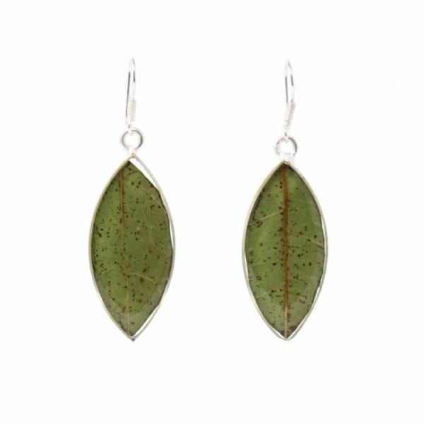 Real Natural Leaves in Resin Sterling Earrings