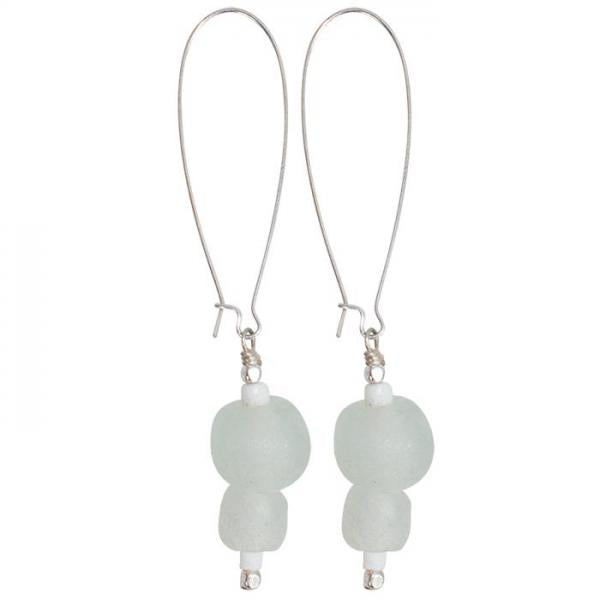 Pearl Dangle Recycled Glass Earrings - Clear/White