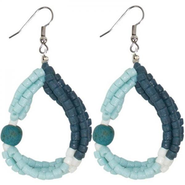 Felicia Teal Recycled Glass Earrings