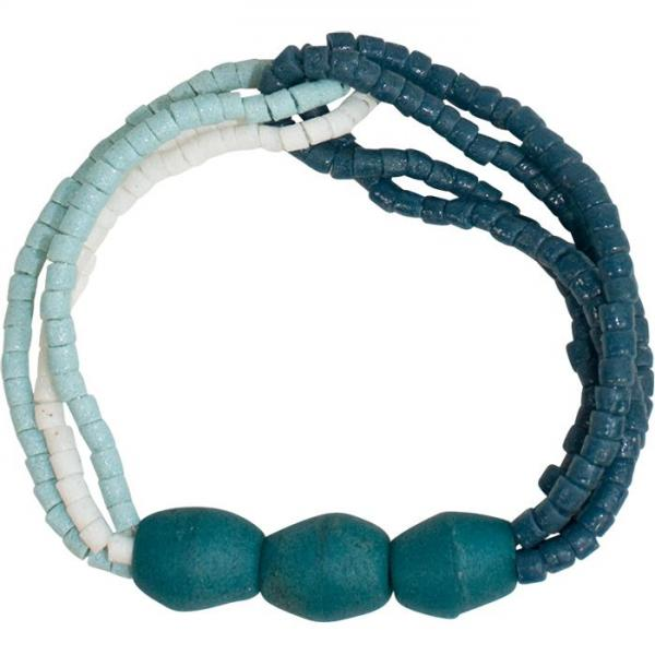 Felicia Teal Recycled Glass Bracelet