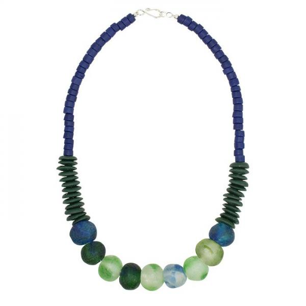 Open Seas Blue Recycled Glass Necklace