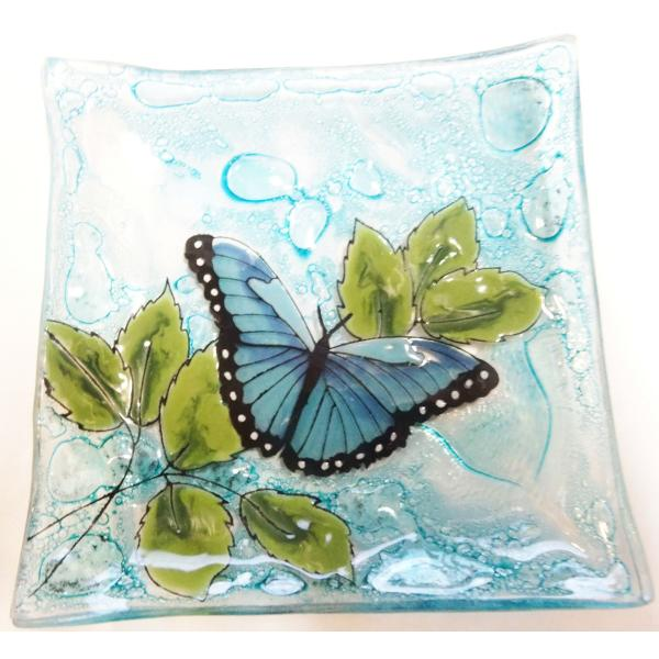 Blue Butterfly Fused Glass Square Dish