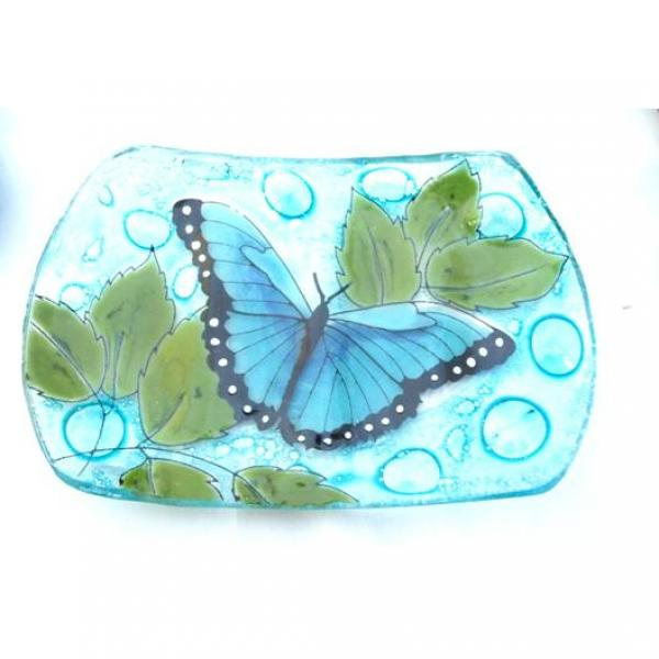 Blue Butterfly Fused Glass Soap Dish