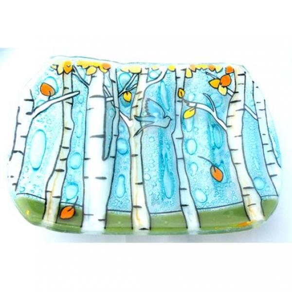 Aspen Trees Fused Glass Soap Dish