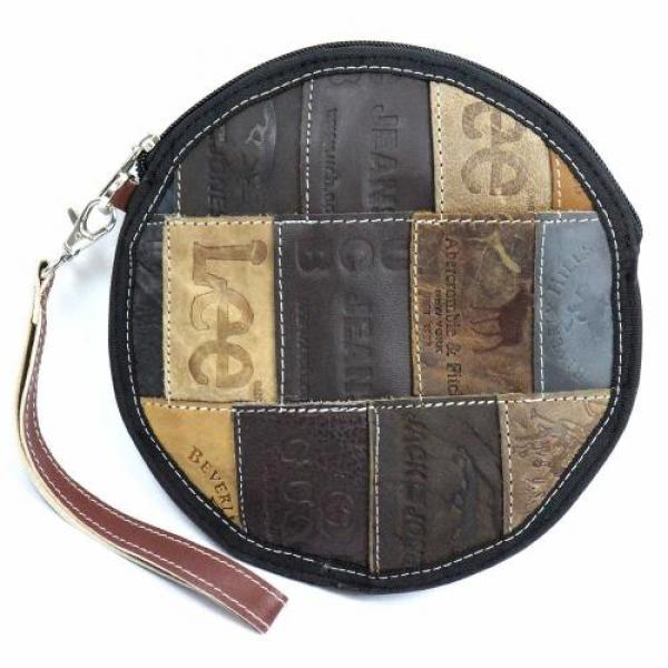 Leather Jean Label Round Wristlet