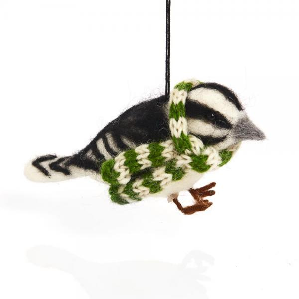 Cozy Woodpecker with Scarf Felt Ornament