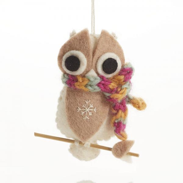 Cozy White Owl with Scarf Felt Ornament