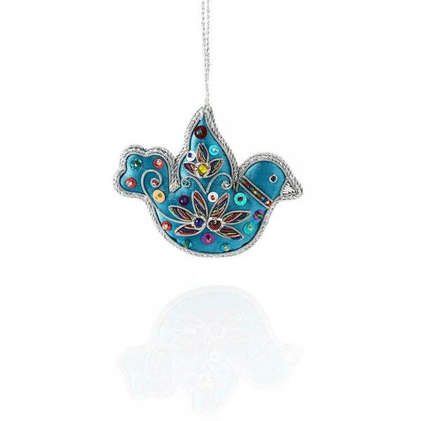 Blue Dove Embroidered Zari Ornament