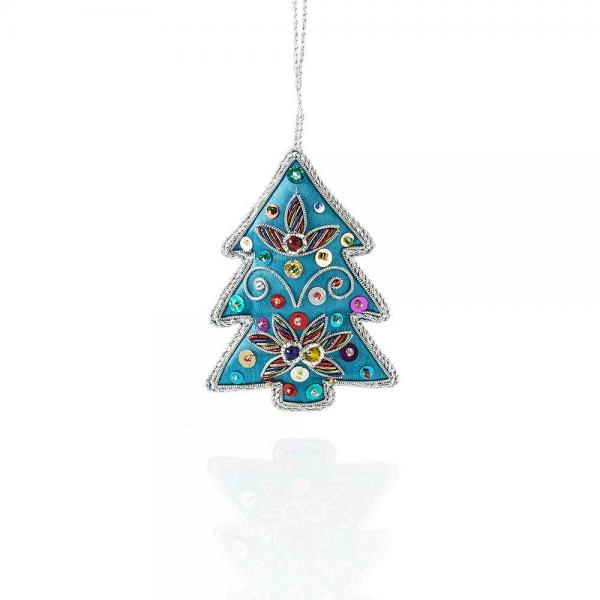 Blue Tree Embroidered Zari Ornament