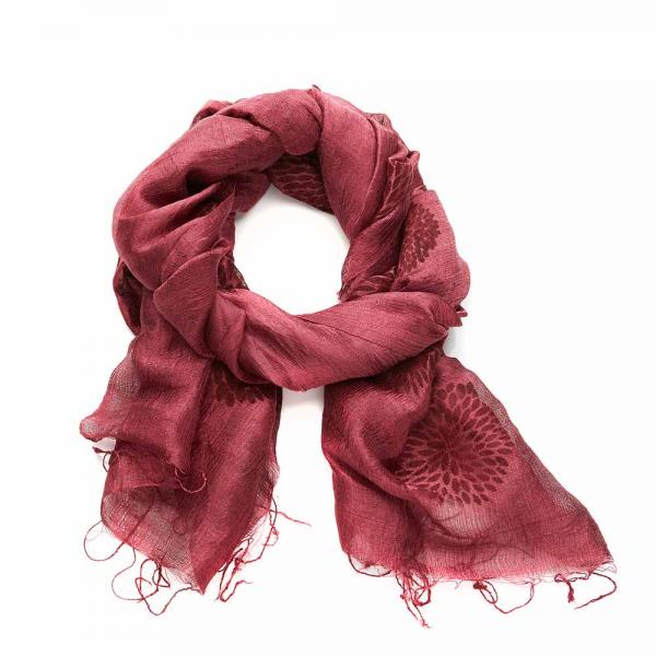 Cranberry Chrysanthemum Silk Scarf