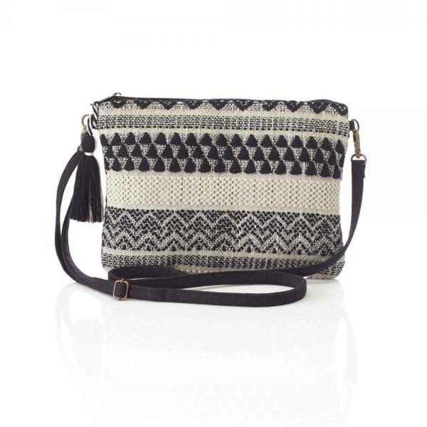 Jacquard Black & White Crossbody Clutch