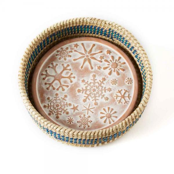 snowflake terra cotta bread warmer fair trade