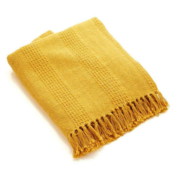 Cotton Rethread Mustard Throw Blanket