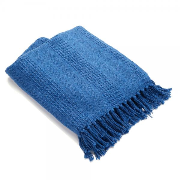 Cotton Rethread Azure Throw Blanket