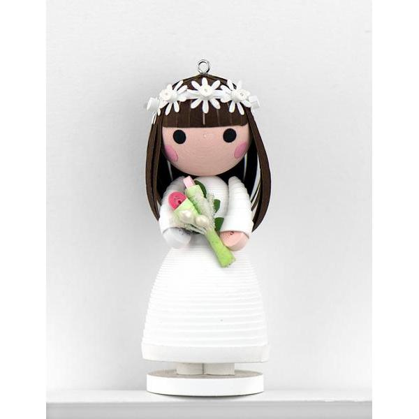 Quilled Wedding Bride Ornament with Stand
