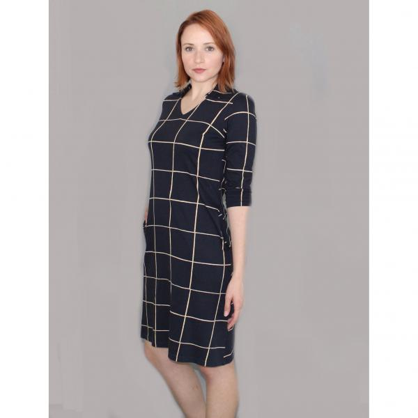 Helena Navy Plaid Organic Jersey Dress