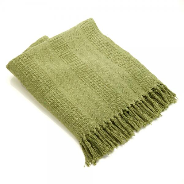 Cotton Rethread Moss Throw Blanket