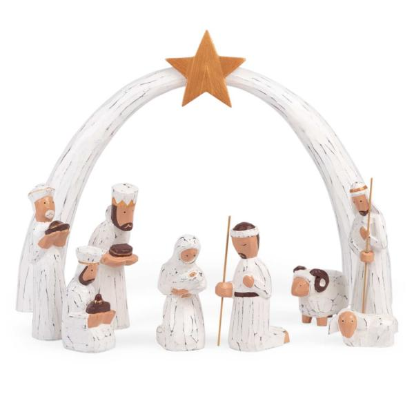 Albesia Wood 9 Piece Nativity