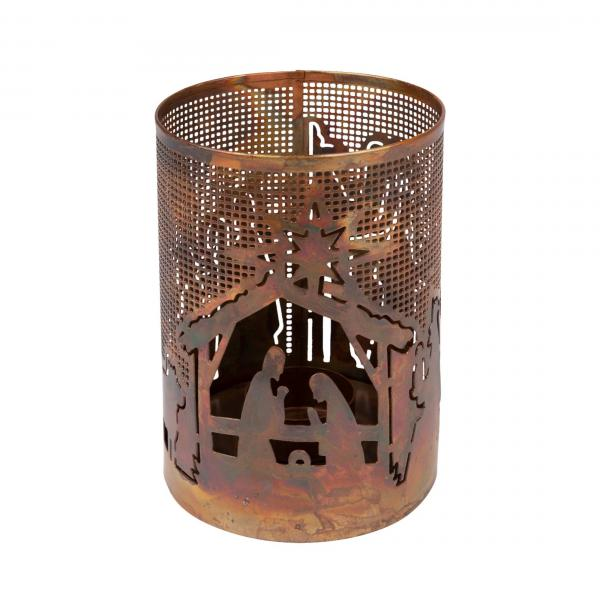 Bright Nativity Metal Candleholder