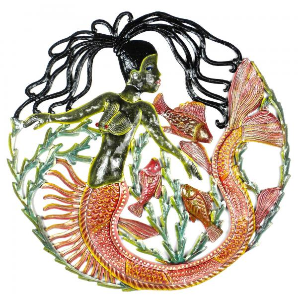 Painted Mermaid and Fish Drum Art