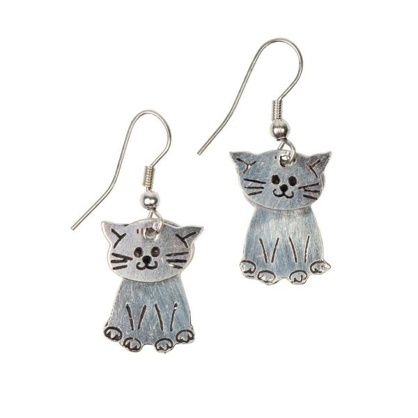 Kitty Silver Colored Brass Earrings