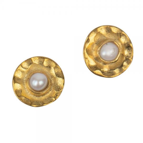 Centripetal Brass & Pearl Stud Earrings